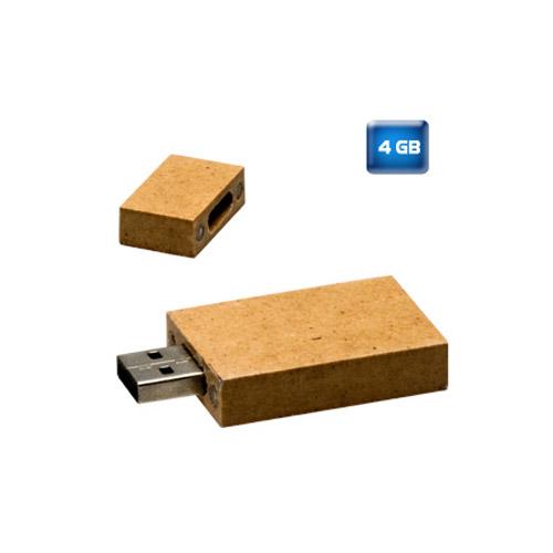 Memoria USB de cart�n reciclado. Tapa con imanes. 4 GB de capacidad.