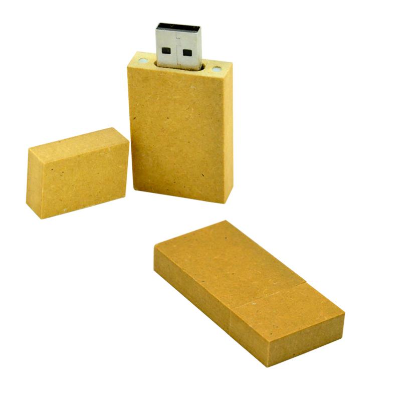 Memoria USB de cart�n reciclado y tapa con im�n.