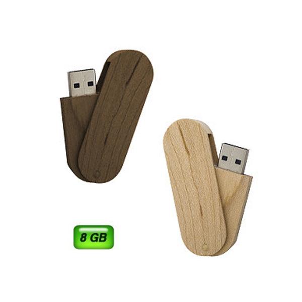 USB giratoria de madera. Capacidad 8GB.