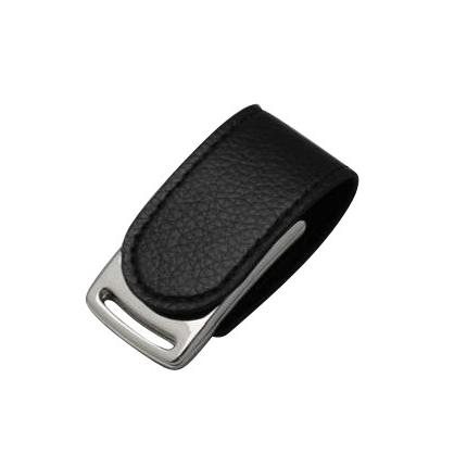 USB met�lica acabado cromado, clip de piel con im�n. Capacidad 8 GB