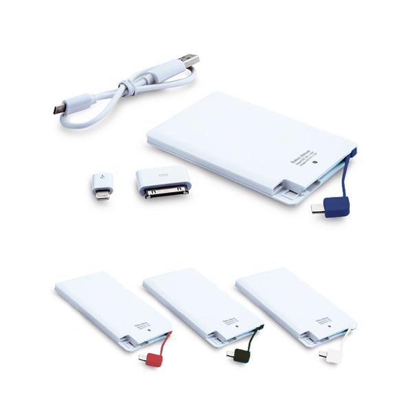 Power Bank Plástica Slim. Incluye: Banda con entrada para sistema Android y compatible para IPhone 4s. 5s y 6. Capacidad de 2800 mAh.