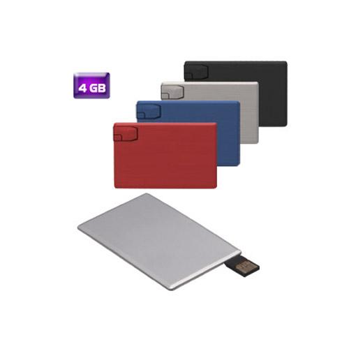 Memoria USB met�lica en forma de tarjeta de cr�dito 4 GB de capacidad.