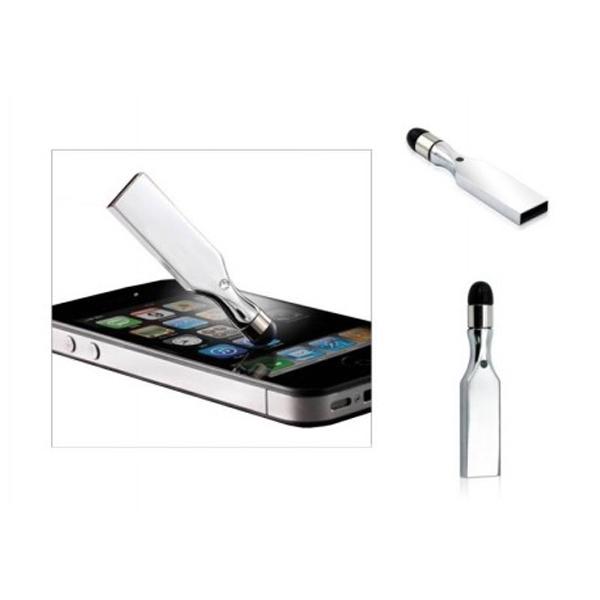 USB metálica de 8GB con sistema touch. Cuenta con anclaje al celular para mejor manejo.