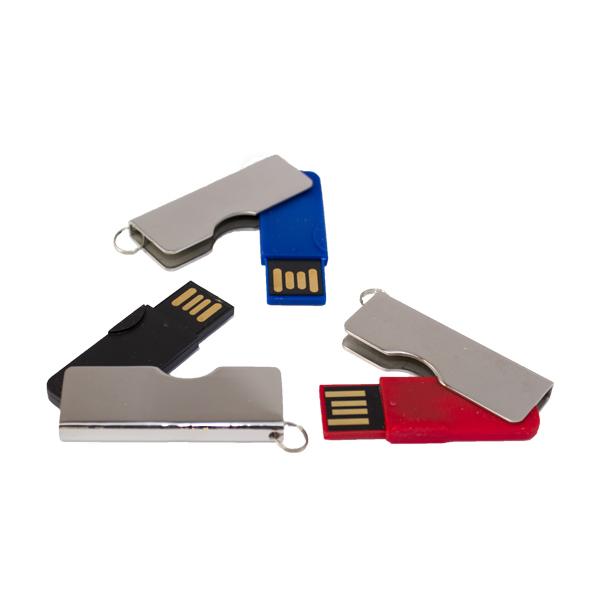 USB LLAVERO GIRATORIO NEGRO. ROJO Y AZUL