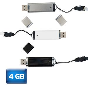USB Luxury 4 GB. tapa y cordón del color de la memoria. el tiempo de entrega es de 24 a 48 hrs. hábiles.