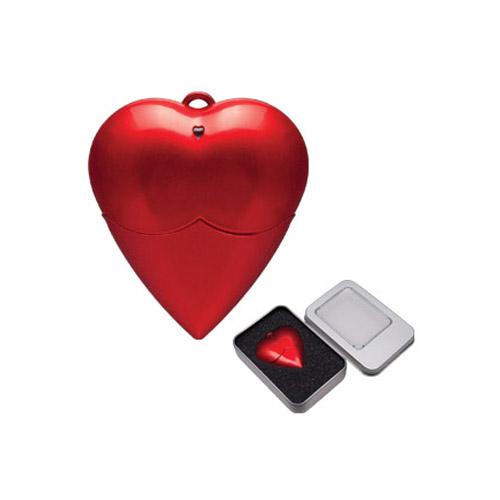 USB forma de coraz�n 4 GB con estuche met�lico. Sobre pedido.
