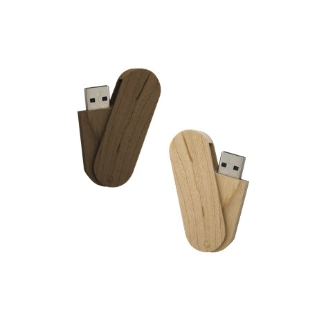 USB giratoria de madera. 4 GB de capacidad.