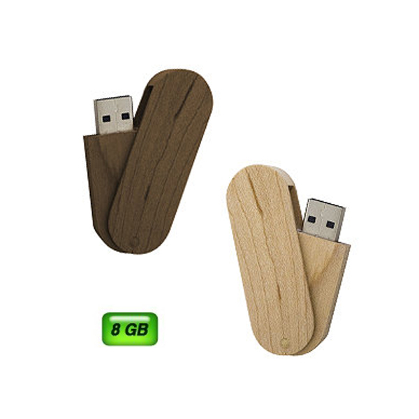USB giratoria de madera. 8 GB de capacidad.