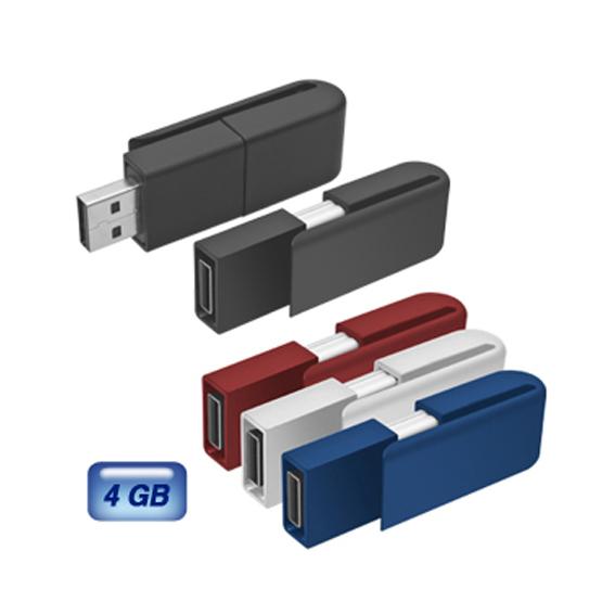 Memoria USB Clipper 4 GB. Retráctil y acabo de silicón.
