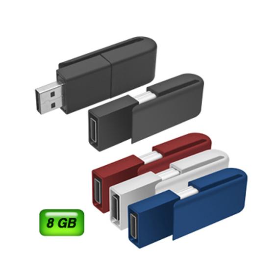 Memoria USB Clipper 8 GB. Retráctil y acabo de silicón.