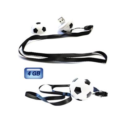 Memoria USB en forma de bal�n de soccer. 4 GB de capacidad. Incluye cord�n.