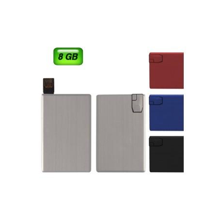 Memoria USB met�lica en forma de tarjeta de cr�dito 8 GB de capacidad.