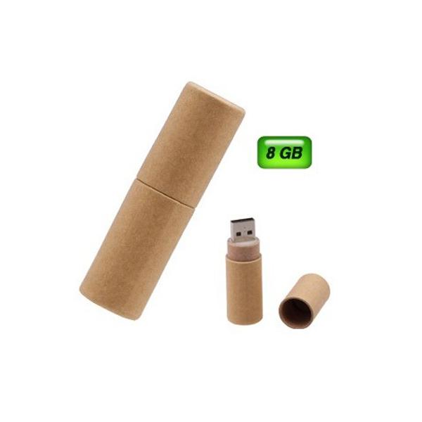 USB ecológica tubo de cartón reciclado. Capacidad: 8 GB
