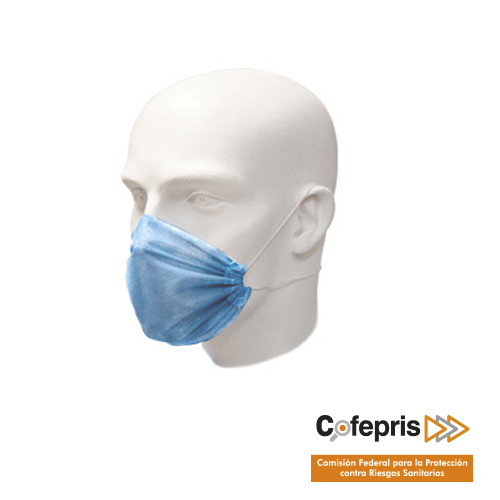 Cubre boca de DOS capas desechable de tela no tejida 100% polipropileno de 25g cada capa color azul, repelente al agua y resistente a fluidos, antiestatico, hipoalergenico, con bandas de ajuste elastico. Tela S.M.S. (Spunbond / Melt-Blown / Spunbond). Esterilizable con gas, vapor y radiación.
