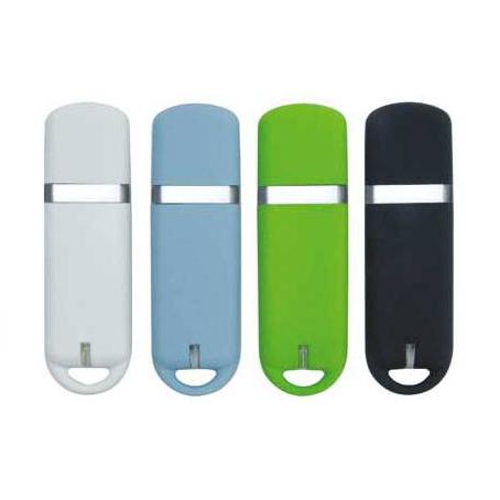 Memoria USB de Plastico con tapa, luz y vivos en color plata.