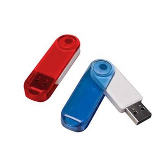 Memoria USB giratoria de Plastico con cuerpo trasnlucido.