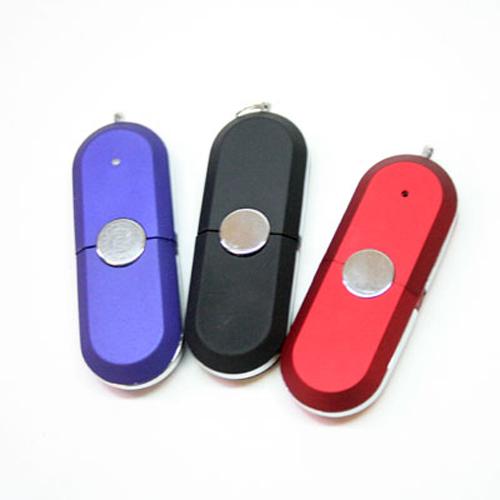 Memoria USB ovalada con tapa, luz y vivos en color plata.