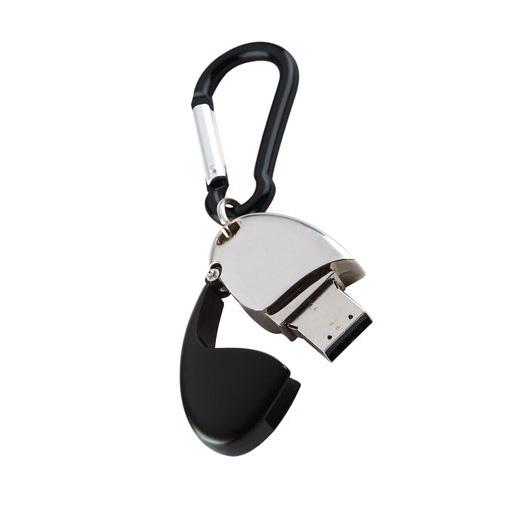 Memoria USB ovalada metalica con tapa y caiman para llaves.