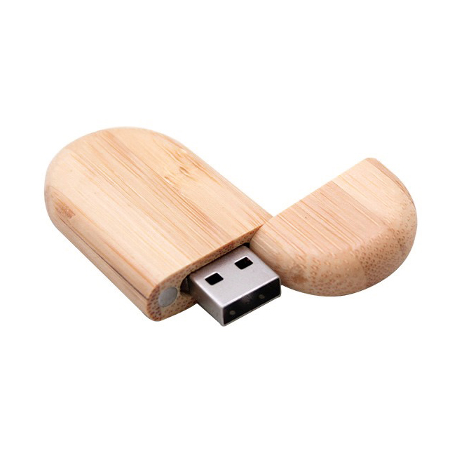 Memoria USB ovalada de madera con tapa e iman de cierre.