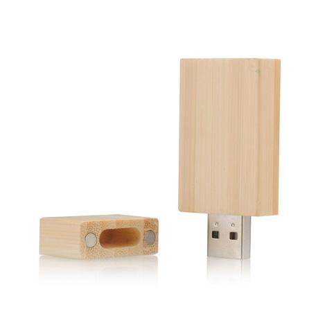 Memoria USB rectagular de madera con tapa e iman de cierre.